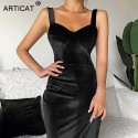 Split Spaghetti Strap Velvet Dress Women Sleeveless Bodycon Mini Dresses Backless Eventing